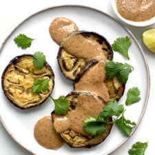 Roasted Eggplant with a Simple Almond Butter Sauce