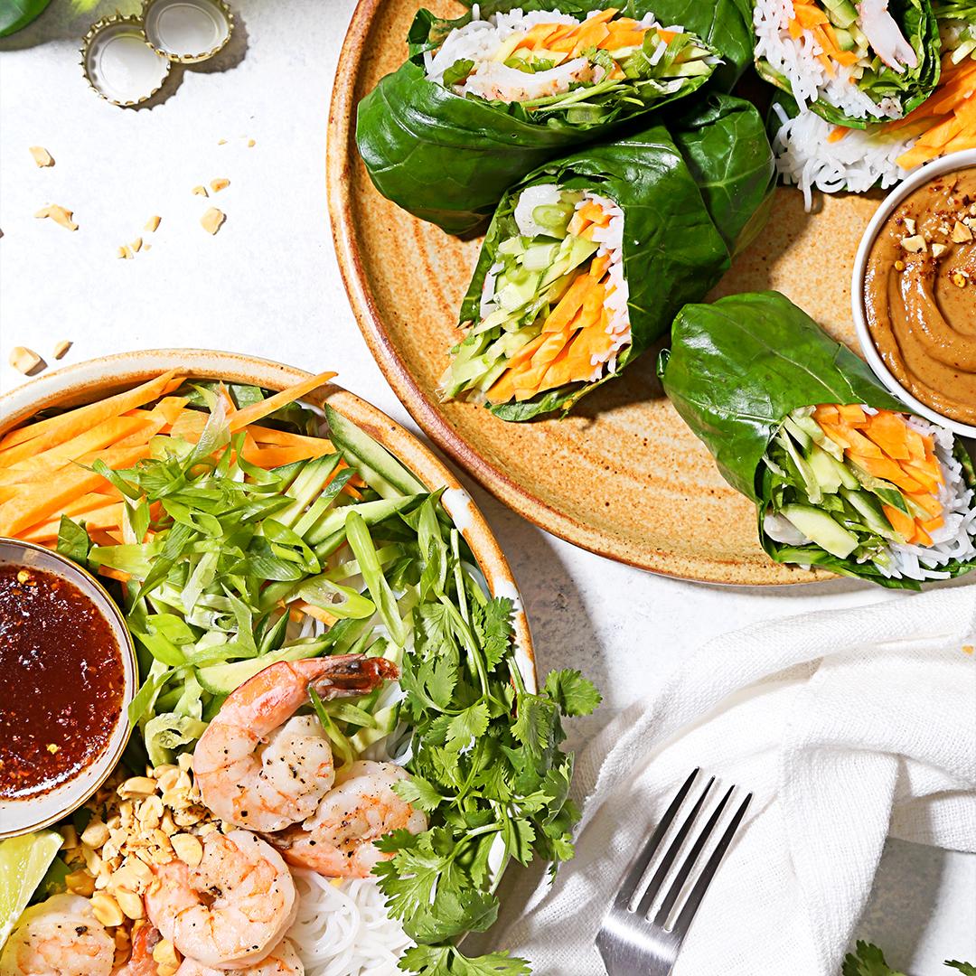 Shrimp noodle bowl and wrap by Misfits Market
